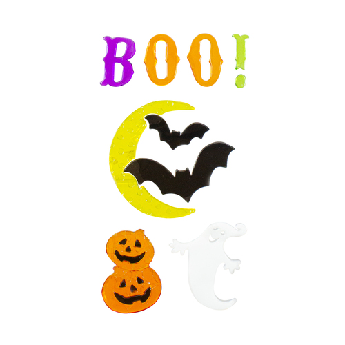 Moon and Bats Halloween Gel Window Clings - IMAGE 1