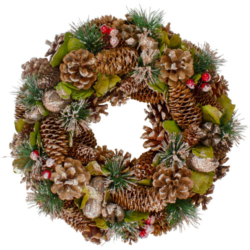 """Green and Brown Frosted Pinecones and Bells Christmas Wreath - 13"""" Unlit - IMAGE 1"""