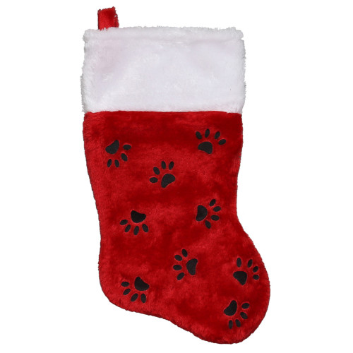 """14"""" Red with Black Paw Prints and White Cuff Christmas Stocking - IMAGE 1"""