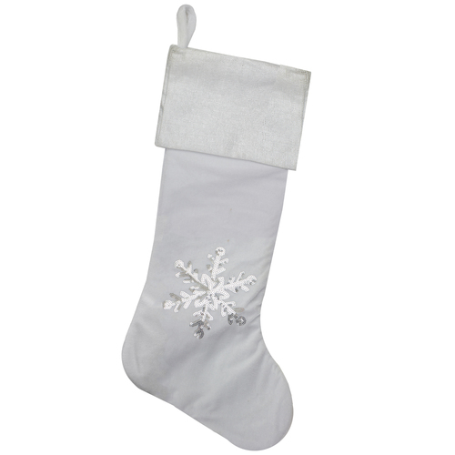 "20"" Silver and White Snowflake Christmas Stocking with Silver Cuff - IMAGE 1"