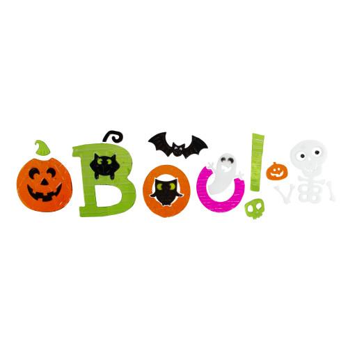"Orange and Green ""Boo!"" Halloween Gel Window Clings - IMAGE 1"