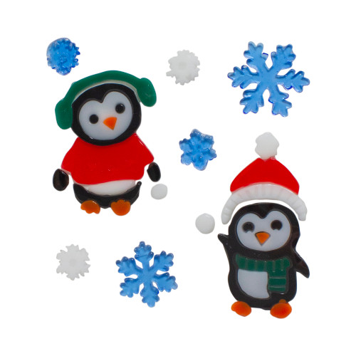 """8 pc. Penguin and Snowflake Gel Christmas Window Clings, 7.75"""" - IMAGE 1"""