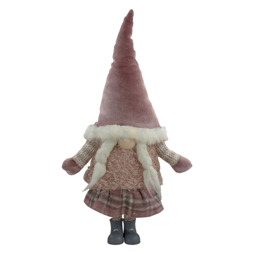 "17"" Lighted Gray and Pink Standing Girl Christmas Gnome Figure - IMAGE 1"