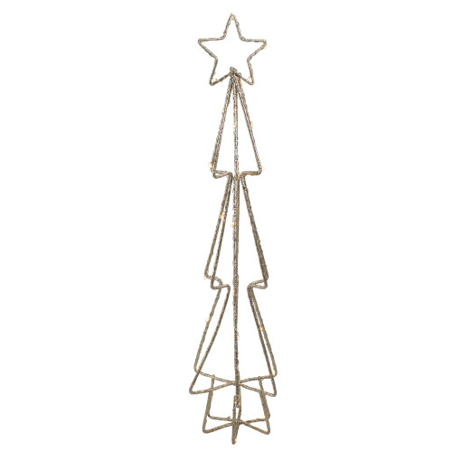 """17.5"""" LED Lighted B/O Gold Glittered Wire Christmas Cone Tree - Warm White Lights - IMAGE 1"""