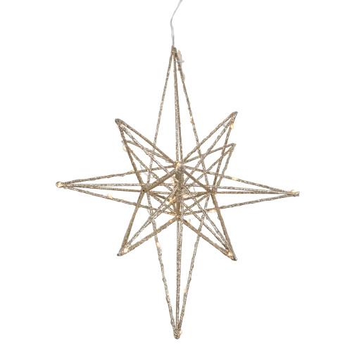 "12"" LED Lighted B/O Gold Glittered Geometric Star Christmas Decoration - Warm White Lights - IMAGE 1"