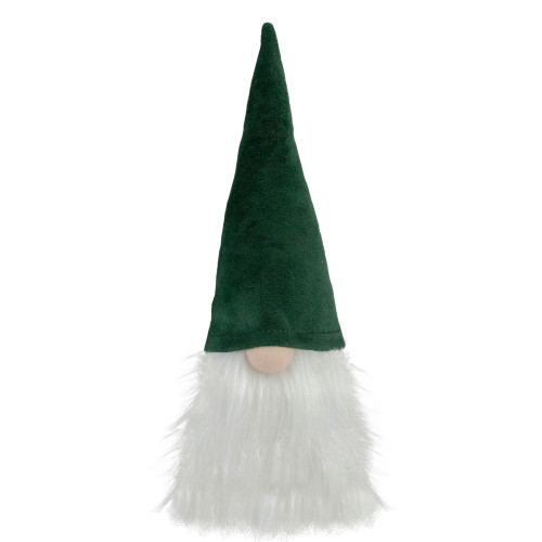 8-Inch Dark Green and White Gnome Head Christmas Decoration - IMAGE 1