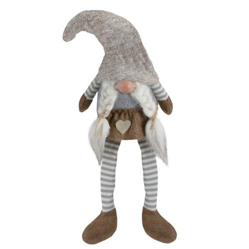 """7.5"""" Gray and Beige Sitting Girl Christmas Gnome Figure with Braids - IMAGE 1"""