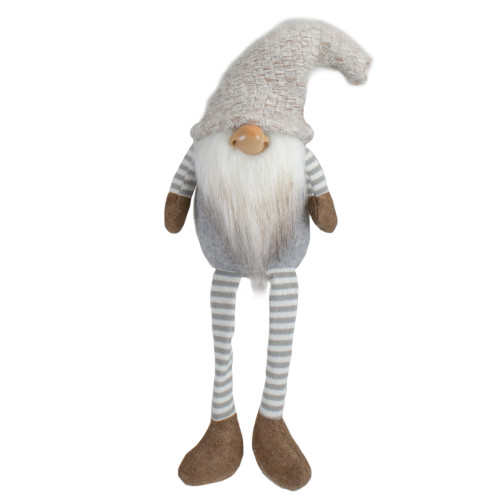 "7.5"" Gray and Beige Sitting Girl Christmas Gnome Figure - IMAGE 1"