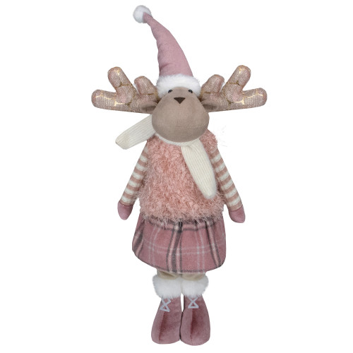 "26"" Pink and Beige Standing Girl Moose Christmas Tabletop Figurine - IMAGE 1"
