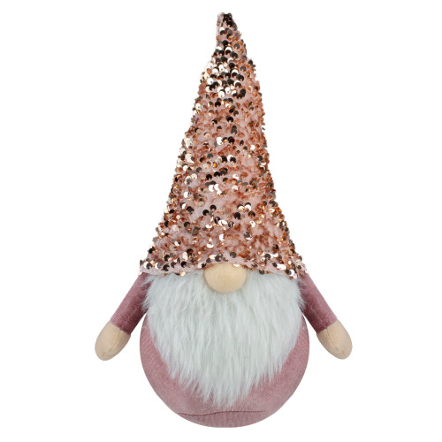"12"" Pink and Rose Gold Christmas Gnome Tabletop Figure - IMAGE 1"