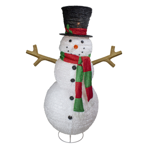 "60"" Lighted Fluffy Lantern Snowman Outdoor Christmas Decor - IMAGE 1"