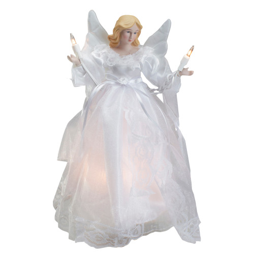 "10"" Lighted White Winged Angel Christmas Tree Topper - Clear lights - IMAGE 1"