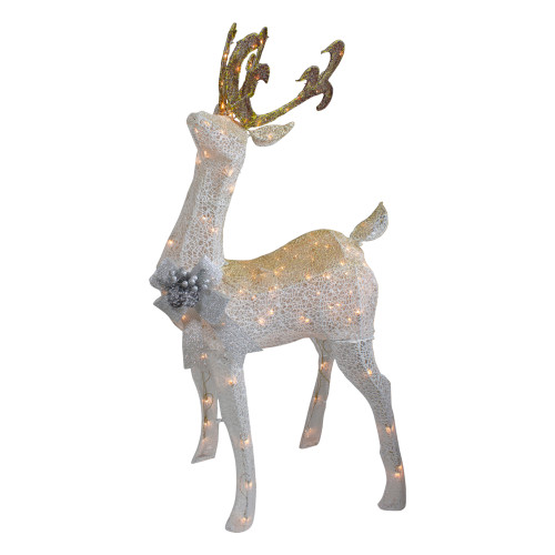 "48"" White and Gold Lighted Standing Buck Outdoor Christmas Decor - IMAGE 1"