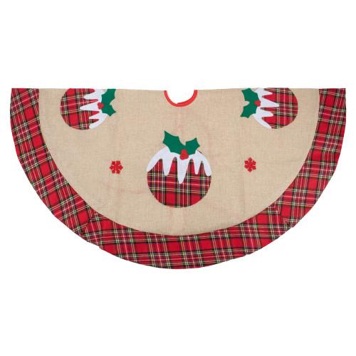 """48"""" Burlap Plaid Tree Skirt with Christmas Puddings - IMAGE 1"""