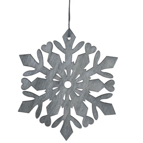 """4.75"""" Gray Snowflake Hanging Christmas Ornament - IMAGE 1"""