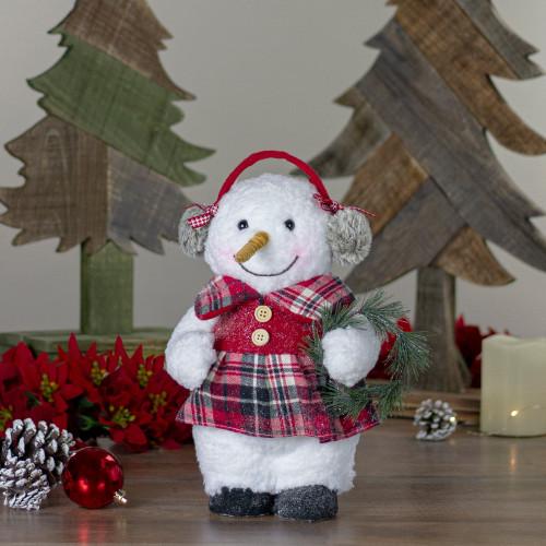 "9.5"" Plush Girl Snowman with Ear Muffs Christmas Figure - IMAGE 1"