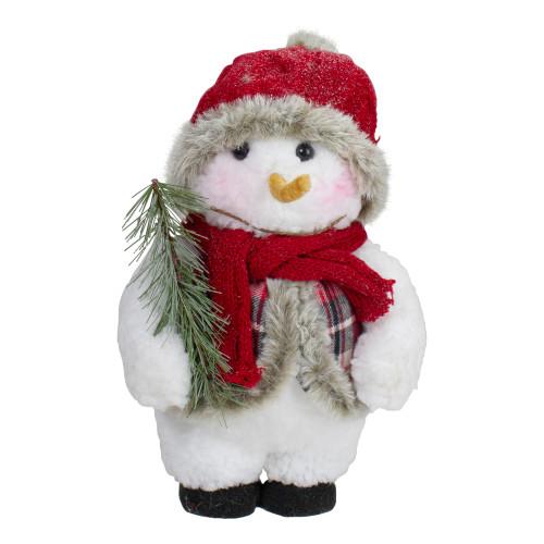 "10"" Plush Snowman Wearing Plaid Vest and Hat Christmas Figure - IMAGE 1"