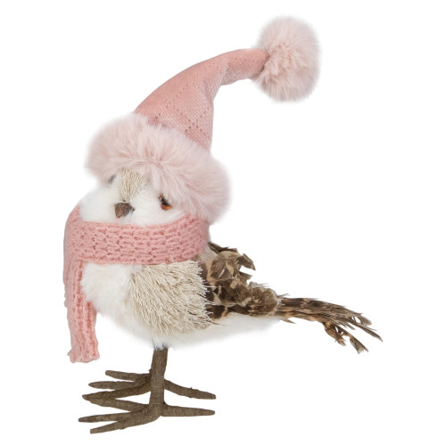 "6.25"" Winter Bird in Pink Santa Hat Tabletop Christmas Decoration - IMAGE 1"