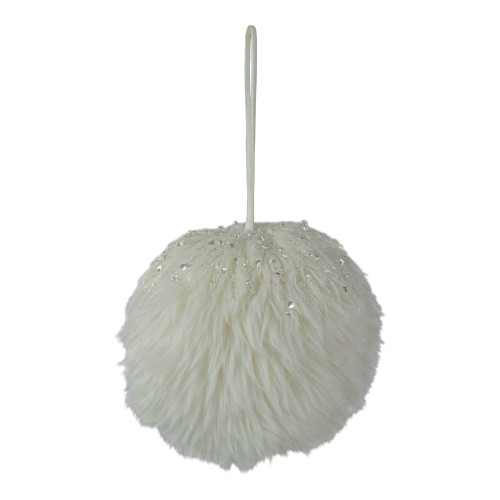 """4"""" White Fuzzy Sphere Indoor Hanging Christmas Decoration - IMAGE 1"""