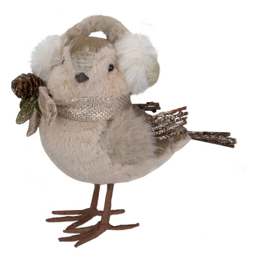 "6"" Beige and White Plush Bird in Earmuffs Christmas Figure - IMAGE 1"