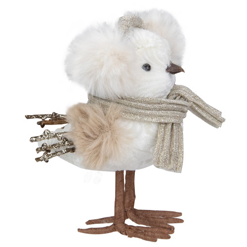 "5"" White and Gold Winter Bird in Earmuffs Christmas Figure - IMAGE 1"