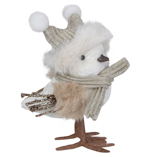 "5.25"" White and Gold Winter Bird with Hat Christmas Figure - IMAGE 1"
