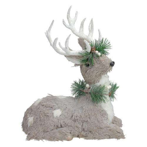 """12.75"""" Gray Sitting Sisal Reindeer with Wreath Christmas Figure - IMAGE 1"""