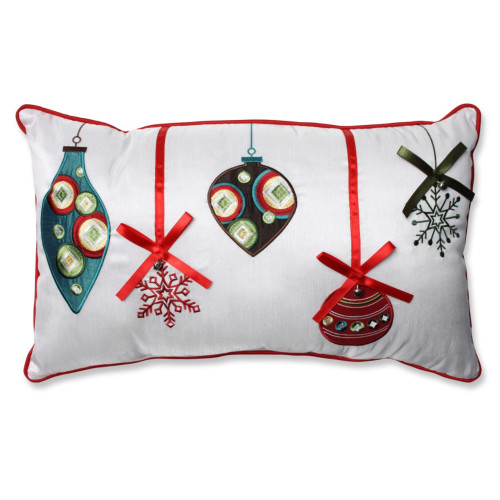 """18.5"""" Red and Green Christmas Ornaments Rectangular Throw Pillow - IMAGE 1"""