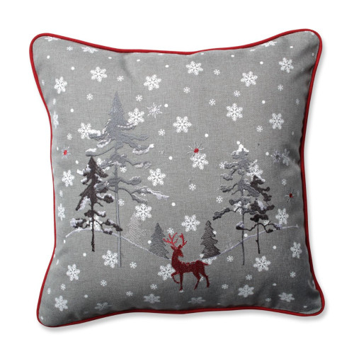 """16.5"""" Gray and Red Embroidered Reindeer Christmas Square Throw Pillow - IMAGE 1"""