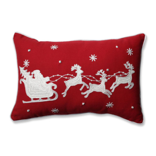 """18.5"""" Red and White Santa Sleigh with Reindeers Christmas Rectangular Throw Pillow - IMAGE 1"""