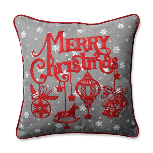 """16.5"""" Gray and Red Ornamental """"MERRY Christmas"""" Square Throw Pillow - IMAGE 1"""