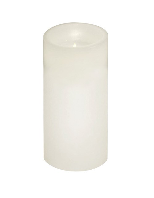 "6"" White Battery Operated Flameless LED Lighted Flickering Wax Christmas Pillar Candle - IMAGE 1"