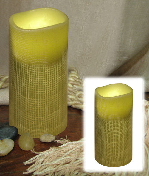 "6"" Olive Green Lattice Battery Operated Flameless LED Lighted Flickering Wax Pillar Candle - IMAGE 1"
