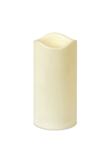 """6"""" Ivory Battery Operated Flameless LED Lighted Flickering Wax Christmas Pillar Candle - IMAGE 1"""