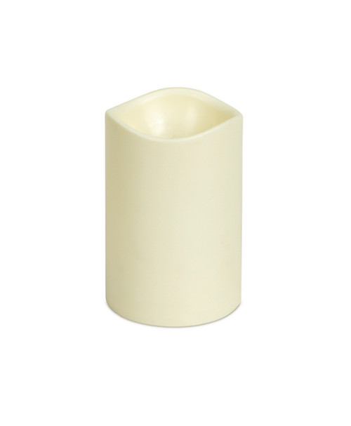 "4"" Ivory B/O Flameless LED Lighted Flickering Vanilla Scented Wax Christmas Pillar Candle - IMAGE 1"