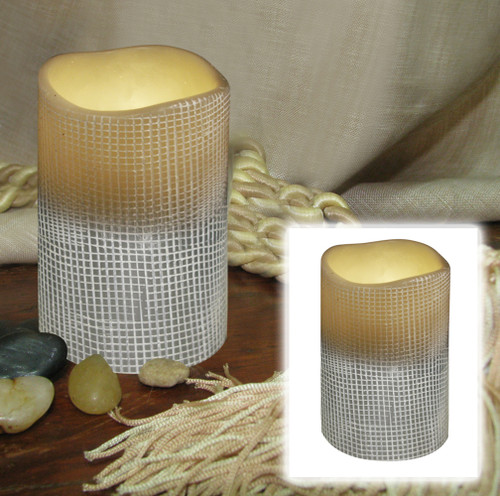 "4"" Stone Gray Lattice Battery Operated Flameless LED Lighted Flickering Wax Pillar Candle - IMAGE 1"