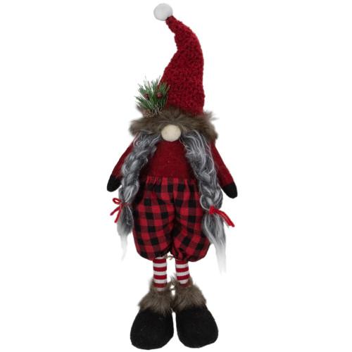 """17"""" Red and Black Buffalo Plaid Girl Gnome Christmas Figure - IMAGE 1"""