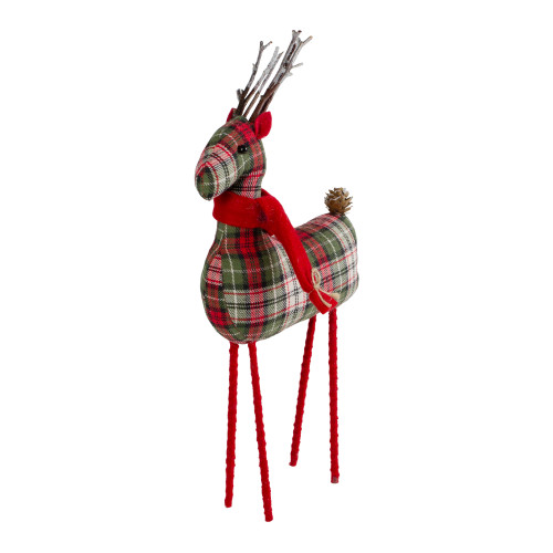 """16"""" Red and Green Plaid Standing Reindeer Christmas Figure - IMAGE 1"""