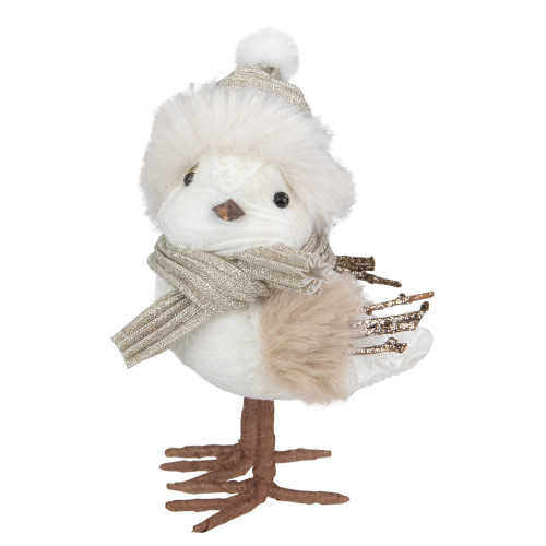 "5.25"" White and Gold Bird in Winter Hat Christmas Figure - IMAGE 1"