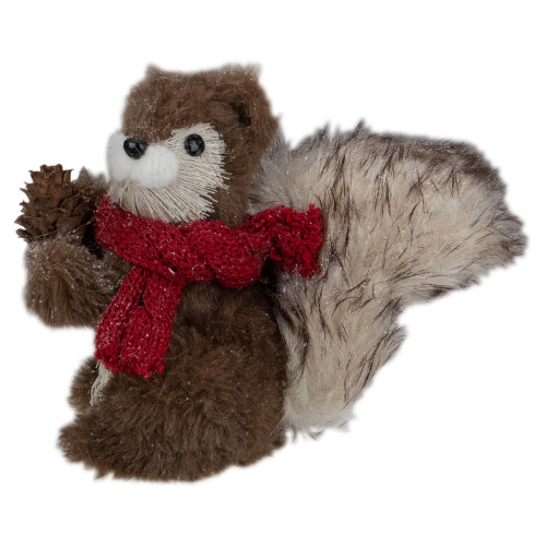 """6"""" Standing Squirrel with Pinecone and Red Scarf Tabletop Christmas Figurine - IMAGE 1"""