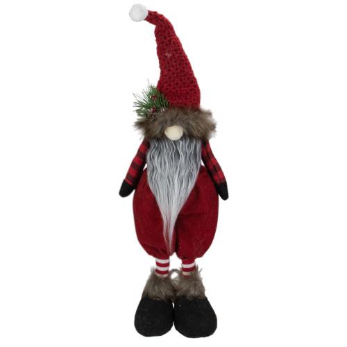 "17"" Red and Black Buffalo Plaid Gnome Christmas Figure - IMAGE 1"