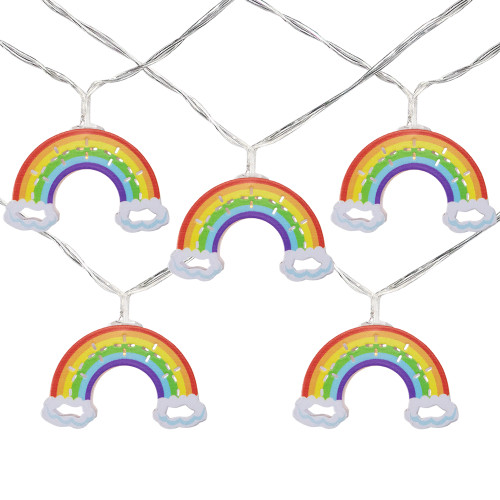 10 Count LED Warm White Rainbow Christmas Lights - 3.25- Foot Clear Wire - IMAGE 1