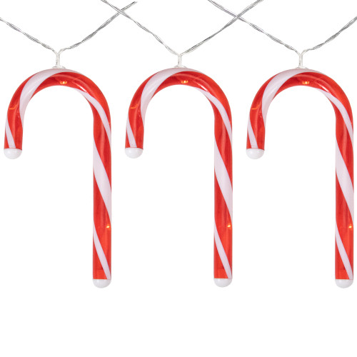 7 B/O LED Warm White Candy Cane Christmas Lights - 3' Clear Wire - IMAGE 1