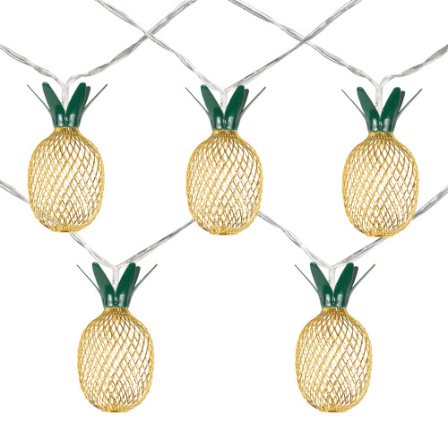 10 B/O LED Warm White Pineapple Christmas Lights - 3' Clear Wire - IMAGE 1