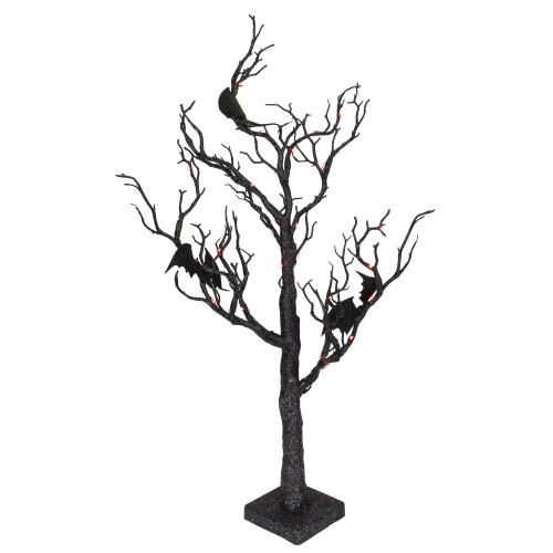 "26.5"" Black Glittered B/O LED Tabletop Halloween Tree with Bats - Orange Lights - IMAGE 1"