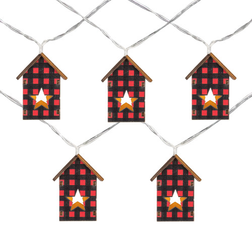 10 Count B/O LED Warm White Plaid House Christmas Lights - 4.75' Clear Wire - IMAGE 1
