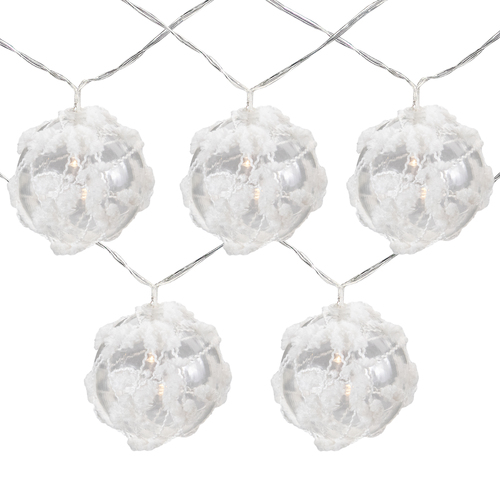 10 B/O LED Warm White Clear Round Ball Christmas Lights - 4.75' Clear Wire - IMAGE 1