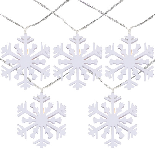10 B/O White Snowflake LED Warm White Christmas Lights - 4.5 ft Clear Wire - IMAGE 1