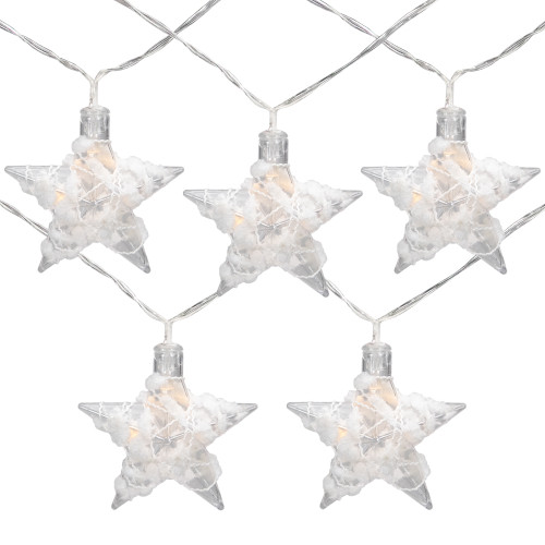 10 B/O LED Warm White Clear Star and Yarn Christmas Lights - 4.5' Clear Wire - IMAGE 1