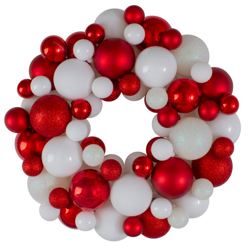 Red and White 3-Finish Shatterproof Ball Christmas Wreath - 13-Inch, Unlit - IMAGE 1